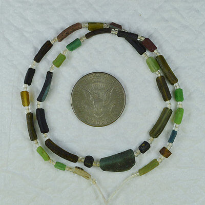 Ancient Roman Glass Beads 1 Medium Strand Brow 100 -200 Bc 690