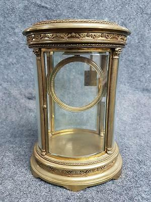 Antique French Bronze Curved Oval Beveled Glass Clock Case 19 Cent