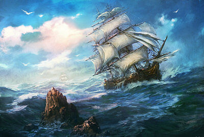 Best gift Ship Sailing Oil painting Art wall Picture HD Printed on canvas hyfc18