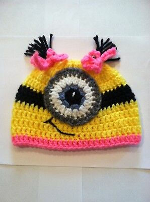 12 Mo. Minion Inspired Baby Girl Beanie Style Hat /Photo Prop