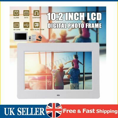 White 10.2''HD Digital Photo Movies Frame Player +Remote Control+Adapter UK