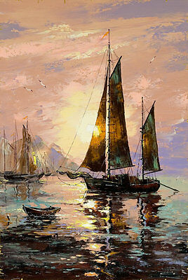Best gift Sailing boat Oil painting Art wall Picture HD Printed on canvas FC325