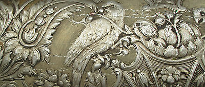 Lot of 2 Antique Wall Paper Depicts Love Birds Scroll Silver & Gold Rect. French