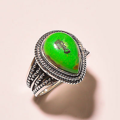 Green Turquoise  Vintage Style 925 Sterling Silver Ring Size 8 Us