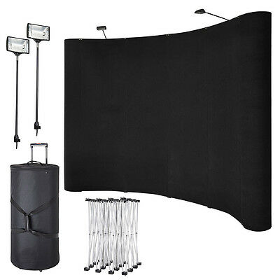 8 feet Portable Display Trade Show Booth Exhibit Black Pop Up Kit Spotlights fsy