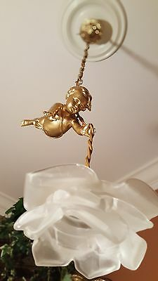 Superb French Antique Chandelier Light Cherub  Putti With Glass Rose Shade