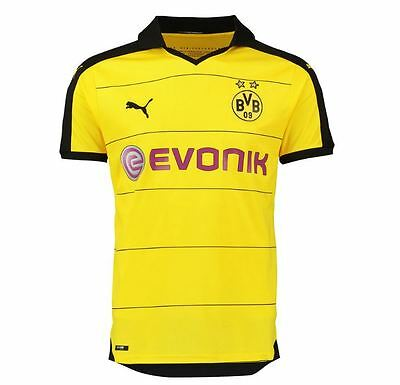 Puma BVB Kids Home Replica Shirt 2015/2016 , Cyber Yellow-Black , Neu