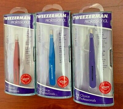 Tweezerman Stainless Steel Slant Tweezer Multiple Colors (Pink Black Blue)