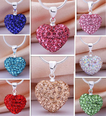 New chic Women CZ Crystal Hearts Silver Lovely Sweater Chain Necklace wholesale