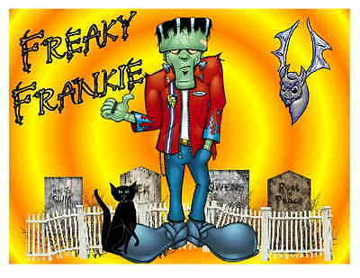 5a3725e8f6 Custom Made T Shirt Halloween Freaky Frankie Frankenstein Funny Men Boys  Teens
