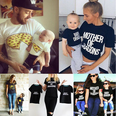 Family Clothes Mother Father Son Baby Girls Boy Kid Summer Shirt T-shirt Tops