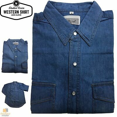 Denim Long Sleeve Western Jean Shirt Studded Buttoned Front Casual Soft New