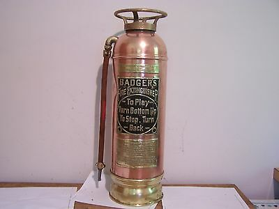 RARE Copper Badger's Fire Extinguisher Brass Top Brass Bottom over 111 years old