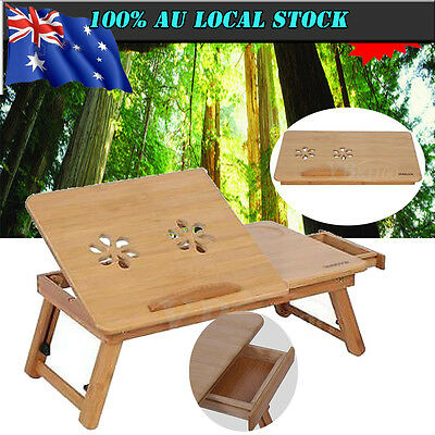 Folding Bamboo Laptop Table Desk Notebook Book Reading Bed Writing Tray Stand AU