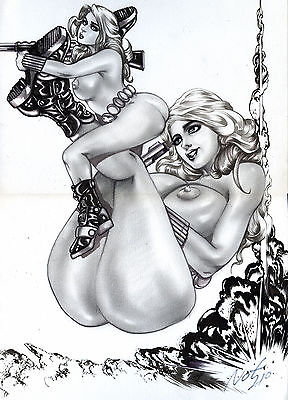 BLACK WIDOW  Female Nude  by Not210, PIN-UP Original art Comic Drawing 11x17