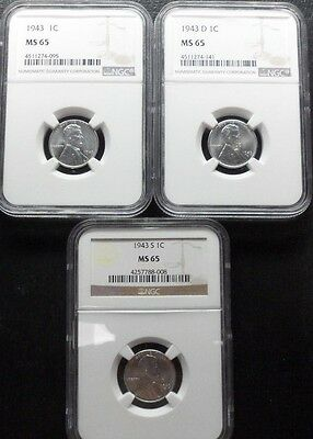 1943 P/d/s  Lincoln Cent Ngc  Ms65  3- Coin Set