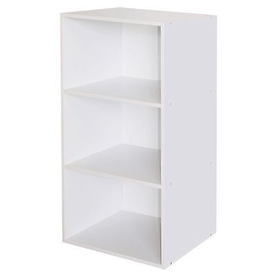 White 3 Tier Strong Wooden Bookcase Shelving Storage Organiser Cube Home Office