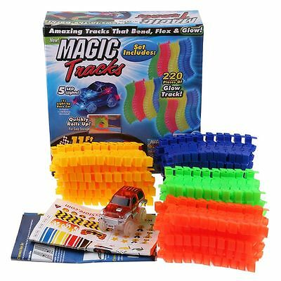 MAGIC TRACKS Racetrack 220/165 Glow in the Dark LED LIGHT UP RACE CAR Bend Flex