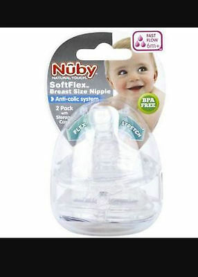 Nuby Natural Touch Soft Flex Fast Flow 2 Pack Teats Anti-Colic