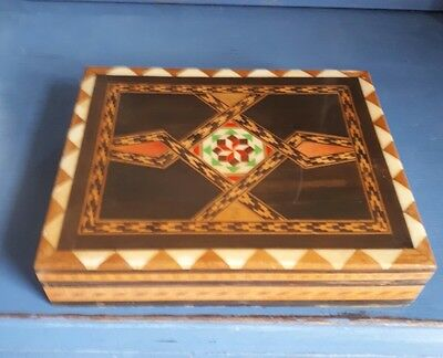 Collectable Marquetry Style Wooden Trinket Box Lid Design with Compartments