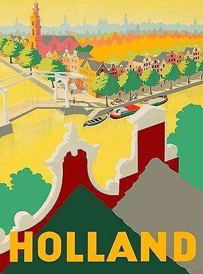 Holland Dutch Neerlandis Netherlands Vintage Travel Advertisement Art Poster