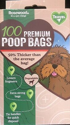 1000 (10 x 100 ) PREMIUM EXTRA STRONG  BLACK Doggy Poo Waste Bags