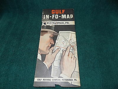 Vintage GULF IN-FO-MAP - 1930s - PITTSBURGH PA - Rare POOR Condition -FreeShip