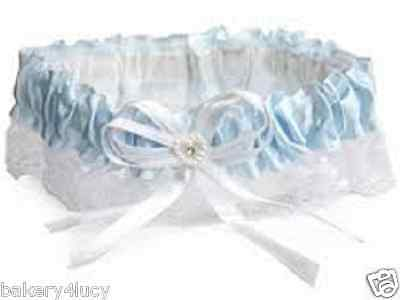 New Satin & Lace Baby Blue Heart Rhinestone Bride's Wedding Bridal Garter Toss