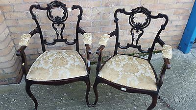 Pair of Victorian antique carved chairs