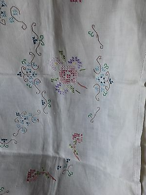 Vintage Hand Stitched Linen Tablecloth