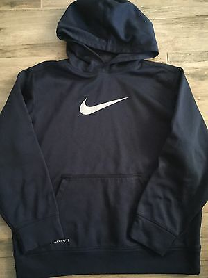 Boys Nike Therma Fit Hoodie Large Navy Blue Sweatshirt
