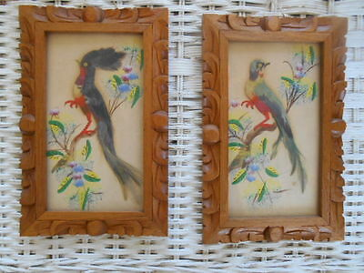 Vintage Mexican Folk Art Feathercraft Bird Pictures Wooden Frames Set of 2