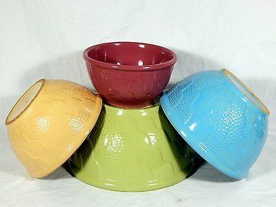 Set/4 ANTIQUE POTTERY MIXING BOWLS Robinson Ransbottom ROSEVILLE OH