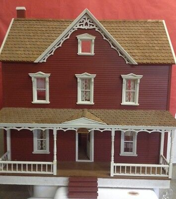 Fully Assembled Vintage 1:12 Scale Wood Farmhouse Dollhouse
