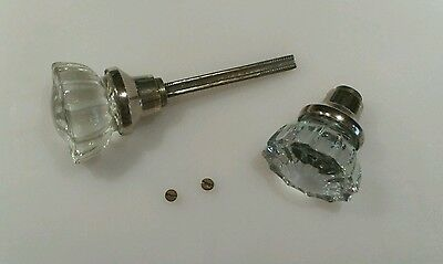 VINTAGE Glass Door Knob Handle Set Clear 12 POINT Silver Tone Brass