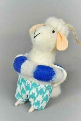 Quirky Freestanding White Felt Bathing Sheep Decoration