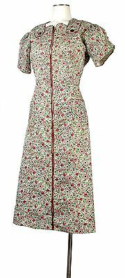 Vintage 30s Novelty Print Feedsack Cotton Day Dress Art Deco Fruit Berries M L
