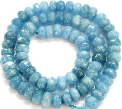 "Faceted 5x8mm Brazil Blue Aquamarine Gemstone Abacus Rondelle Loose Beads 15"" AA"