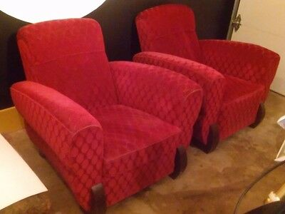 SET OF RED MOHAIR ART DECO  CLUB CHAIRS FROM THE 30's