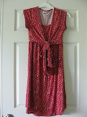 Jo Jo Maman Bebe Maternity Nursing Red Floral Dress Size S Small
