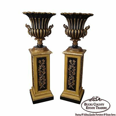 Italian Pair of Gilt Wood Regency Style Pedestals w/ Urn Planters