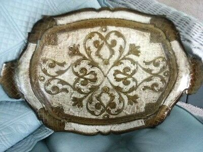 Vintage Florentine Beige & Gold Gilt Italy Italian Wood serving Tole Tray 17 1/2