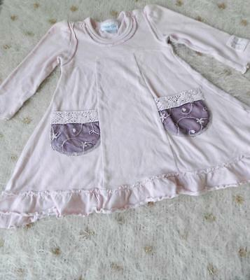 Naartjie Pink Long Sleeve Top With Crochet Lace Pockets Sz 12-18 Months