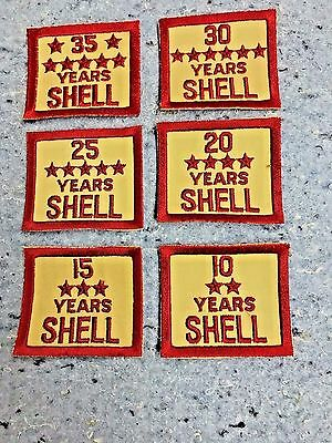 Shell Oil Gas Employee Years Of Service Patches Nos Emblem's 10 15 20 25 30 35