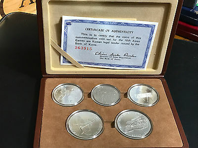 1986 Korea 10Th Asian Games 5 Silver Coins Proof Set