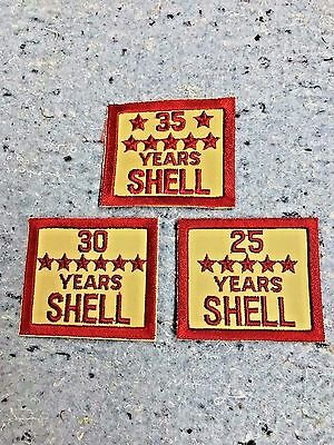 SHELL OIL GAS EMPLOYEE YEARS OF SERVICE PATCHES NOS EMBLEM'S 25 30 35 Years