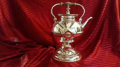 """Silver Plate Tipping Tea/coffee Pot Server & Warmer With Stand & Burner 14"""" Tall"""
