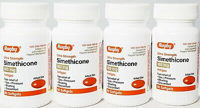 Rugby Simethicone Gas Relief 180mg (Compare to Phazyme) 60ct -4 pack-Exp 01-2022