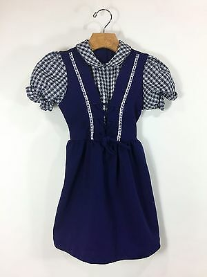 Vintage 1960s Girls Navy Blue Dress Checkered Floral Trim Lace Front Polyester