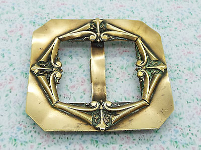 Large Antique Cast Brass Art Nouveau Belt Buckle